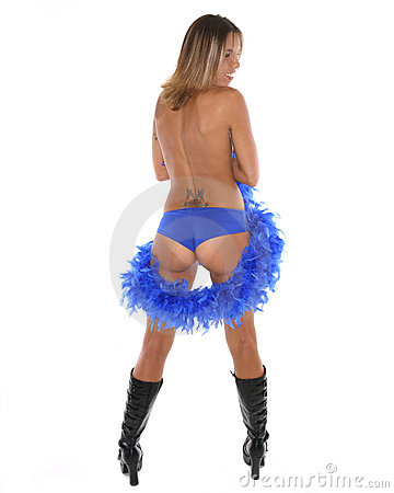 Sexy woman with feather boa
