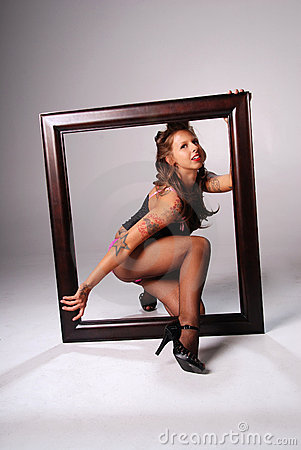 Sexy woman with frame.