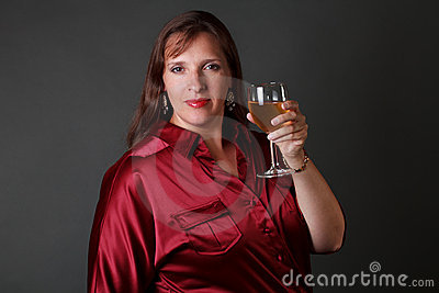 Sexy woman with glass of white wine