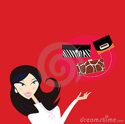 Sexy woman go shopping - what kind of hand bag?