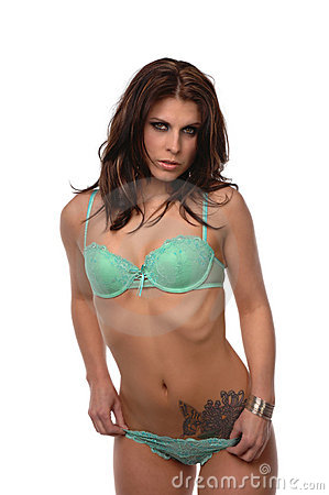 Sexy woman green lingerie tattoo