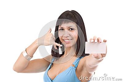 Sexy woman handing business card