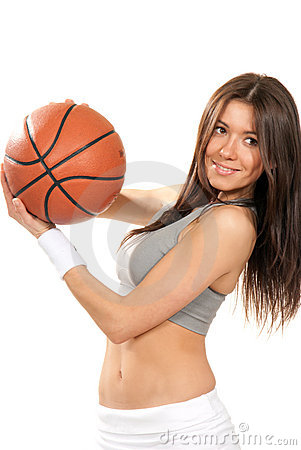 Sexy woman holding Basketball ball in hands