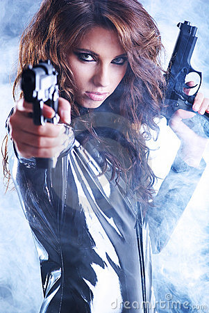 Free Sexy Woman Holding Gun With Smoke Stock Photography - 8319962