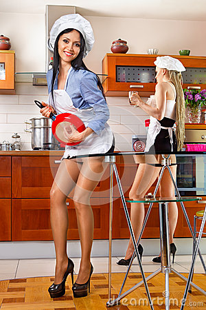 Sexy woman in kitchen