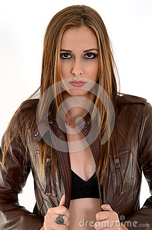 Sexy woman on leather jacket
