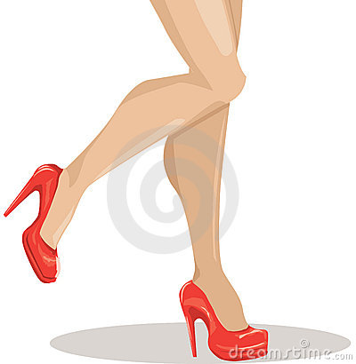 Sexy woman legs with red shoes