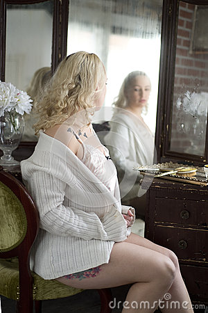 Sexy Woman Looking In A Vanity Mirror Stock Photo Image 55855606
