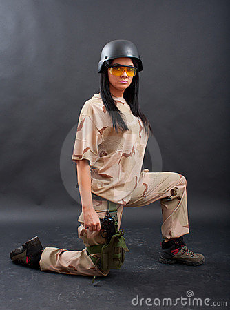 Sexy woman in military outfit