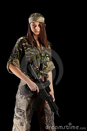 Sexy woman in military uniform