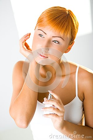 Sexy woman with perfume