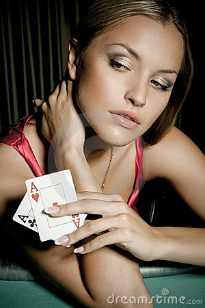 Free Sexy Woman Playing Poker In Casino Royalty Free Stock Photos - 12040578