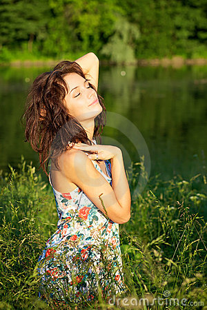 Sexy woman posing outdoors