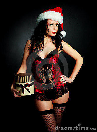 Sexy woman with a present