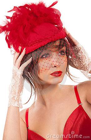 Sexy woman in red hat with net veil
