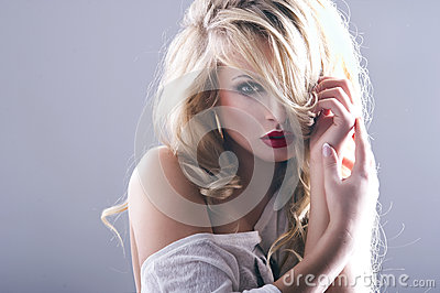 Sexy woman with red lips Stock Photo
