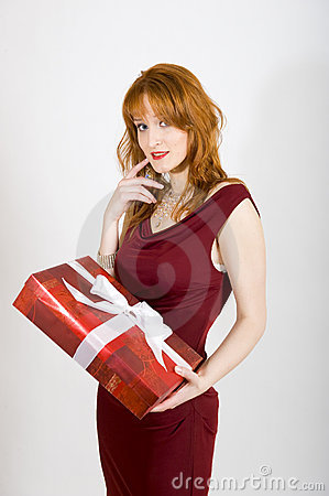 Sexy woman with red present on valentines day