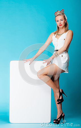 Free Sexy Woman Retro Style With Blank Presentation Board Banner Sign. Royalty Free Stock Photo - 36928615