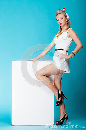 Free Sexy Woman Retro Style With Blank Presentation Board Banner Sign. Royalty Free Stock Images - 40679809