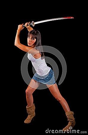 Sexy woman with a Samurai sword