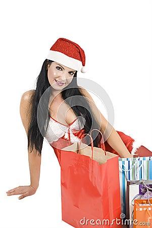 Sexy woman in Santa hat
