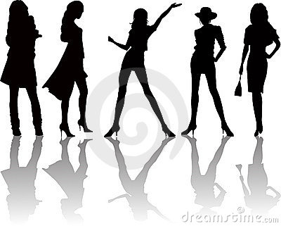 woman silhouettes - vector