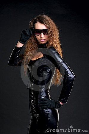 Sexy woman in skintight latex