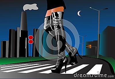 Sexy woman walking in the street