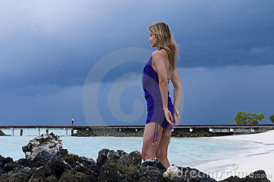 Sexy woman watching indian ocean