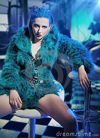 Sexy woman wearing fur