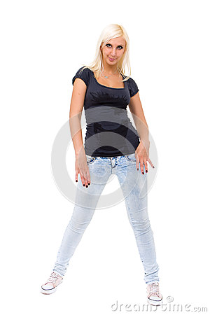 Sexy woman wearing a jeans
