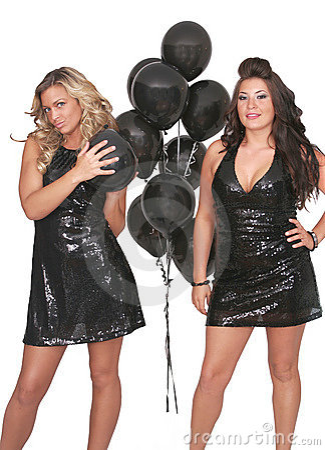 Sexy women black balloons