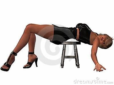 Sexy Women Posing With A Stool
