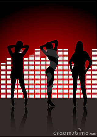 Sexy women silhouettes in club