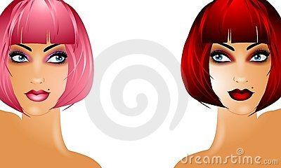 Sexy Women Wearing Red and Pink Wigs