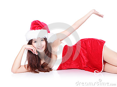 Sexy xmas woman lying and show something