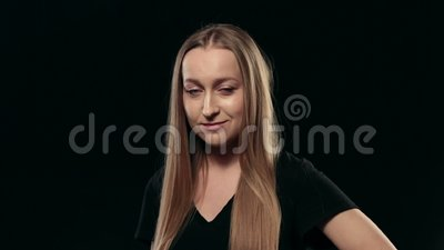 young beautiful woman flirting with camera stock footage