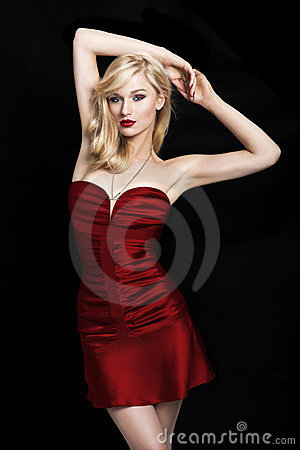young blond woman in a red dress