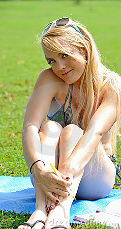 Sexy young blonde woman in bikini