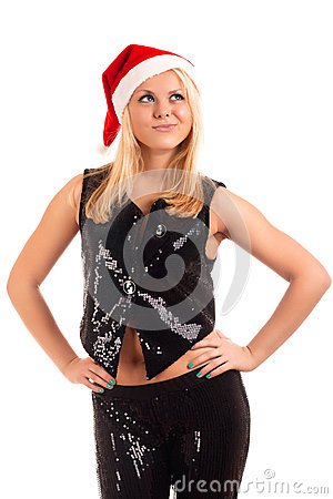 Sexy young blonde woman in Santa hat