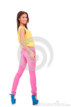 Sexy young casual woman in colorful clothes