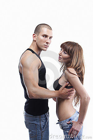 young couple in jeans