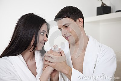 Sexy young couple in the morning
