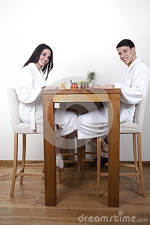 young couple in the morning having breakfast