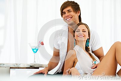 young couple on resort
