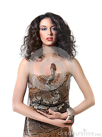 Free Sexy Young Dark Hired Woman Posing Holding A Snake Stock Photo - 90100530