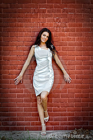 Sexy young elegant woman over brick wall