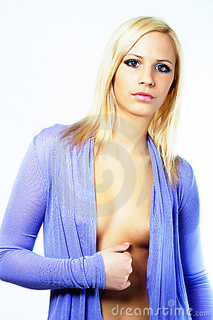 Sexy young fashion girl in blue