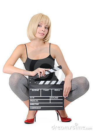 Sexy young girl with clapper board isolated