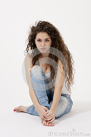 Free Sexy Young Girl In Shirt And Torn Jeans Royalty Free Stock Photos - 27847248